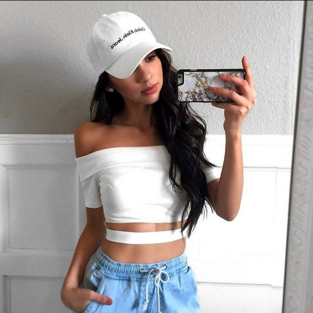 [po] ulzzang off shoulder crop wrap top tumblr Womenu0026#39;s Fashion Clothes Tops on Carousell