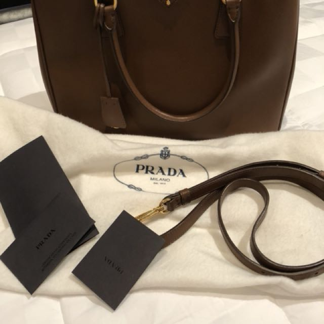 Prada saffiano brown colour barely used pristine condition