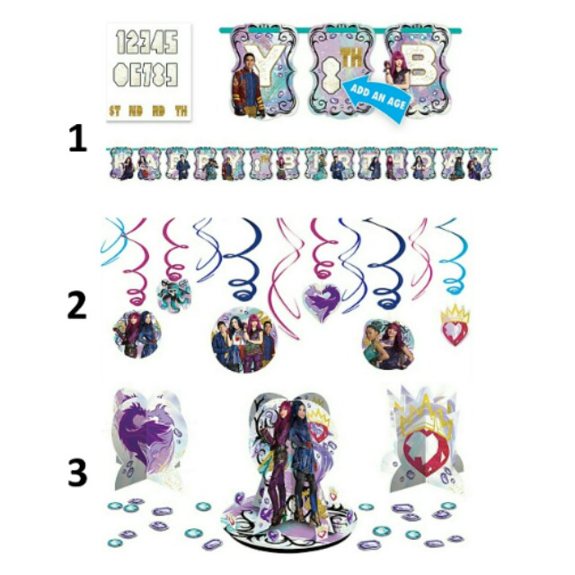 Pre Order Licensed Descendants 2 Birthday Party Decorations Kits
