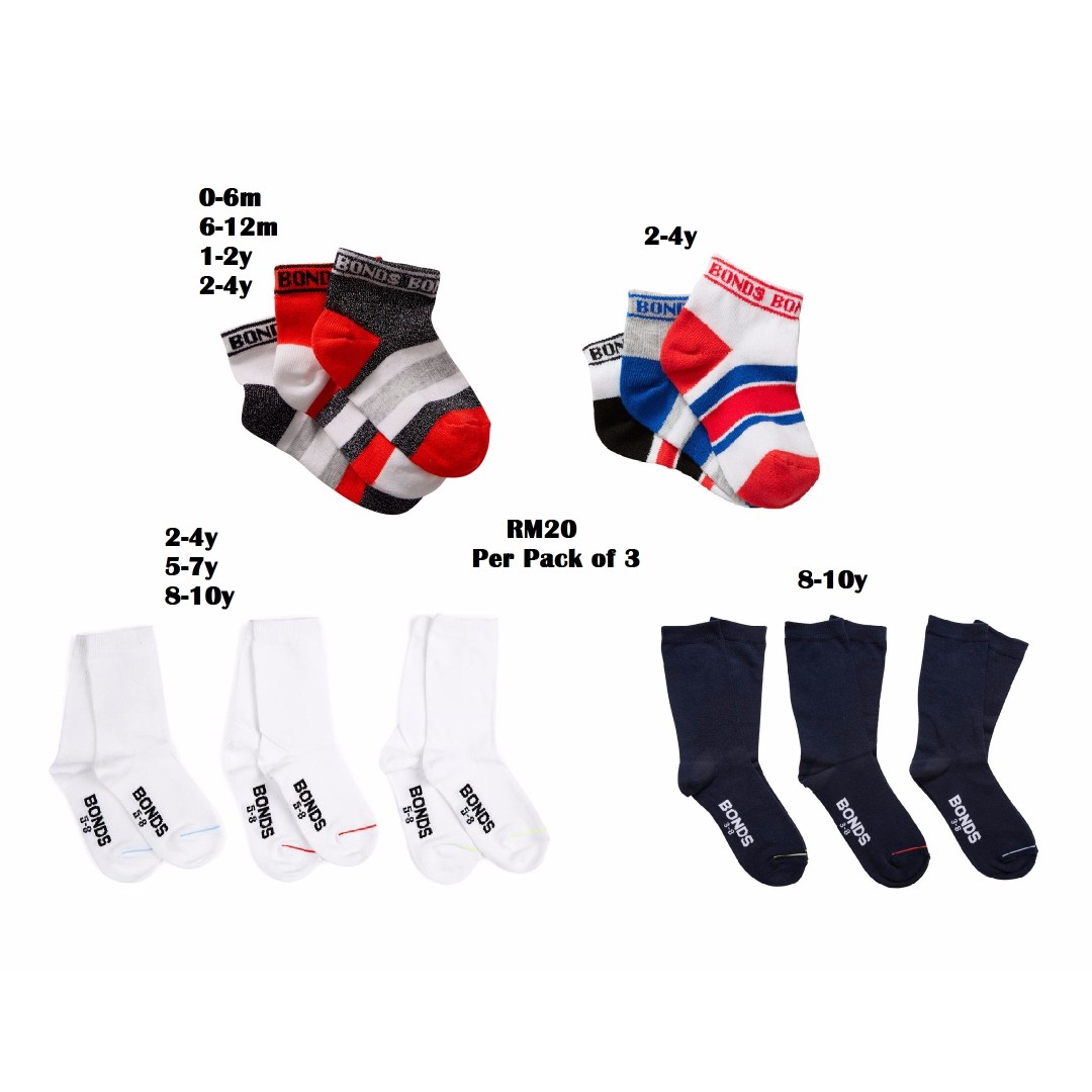 PRE-ORDER BONDS Socks for 0-10y