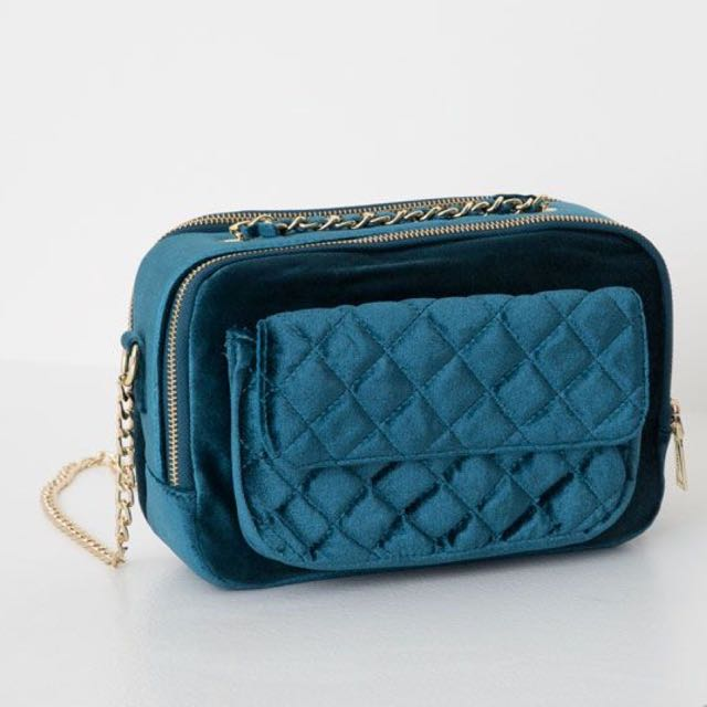 Pull and Bear velvet quilted bag in teal