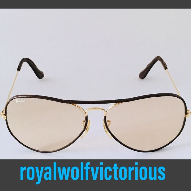 7d4220f52a566 Ray-Ban Leathers 1980s Vintage Bausch   Lomb Swirl Leather 62mm ...