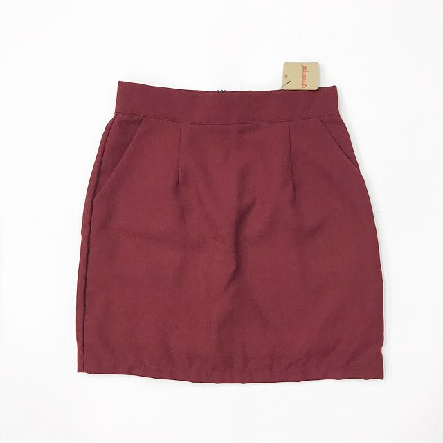 Red A Line Mini Skirt
