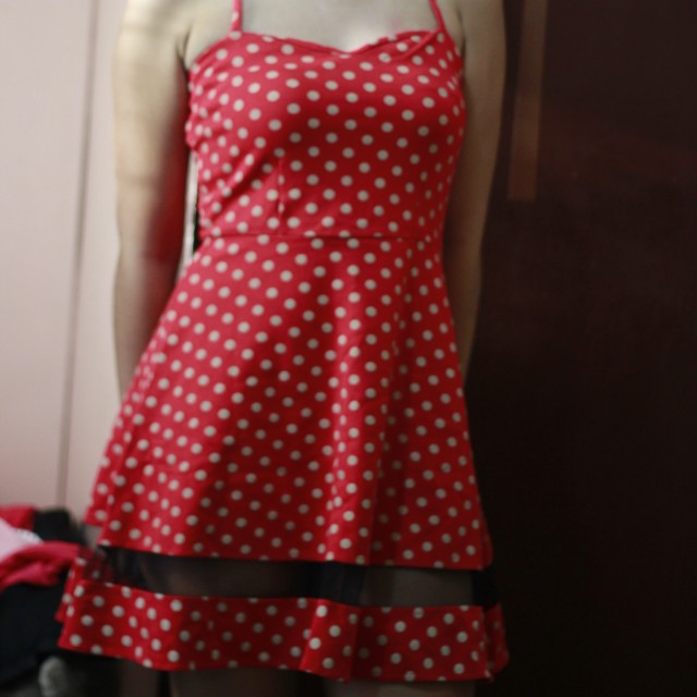 Red polka-dotted mesh dress