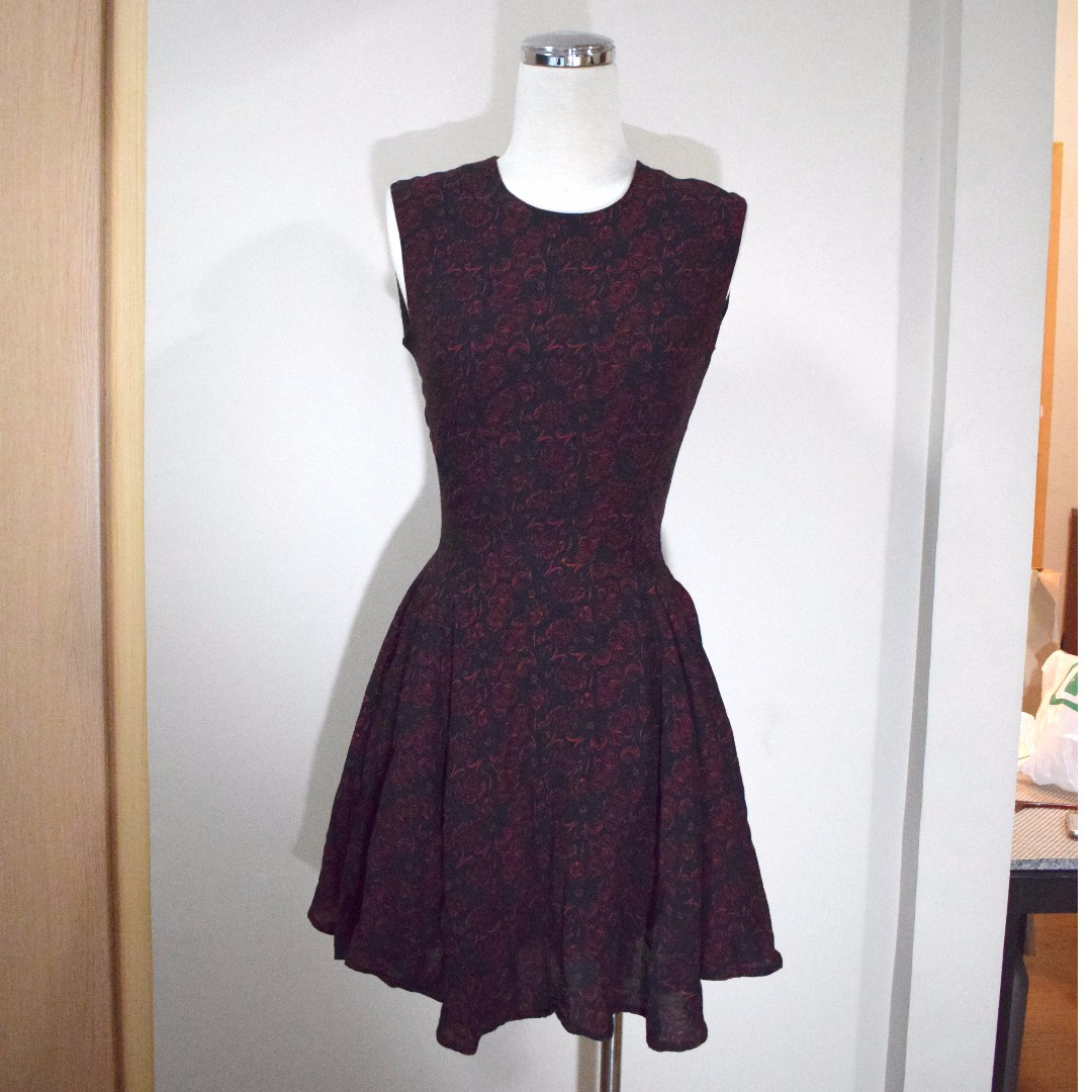 H&M Red Print on Black Crepe Dress with flared Skirt