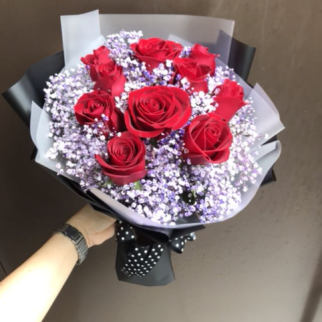 Red roses and purple baby breath Hand Bouquet