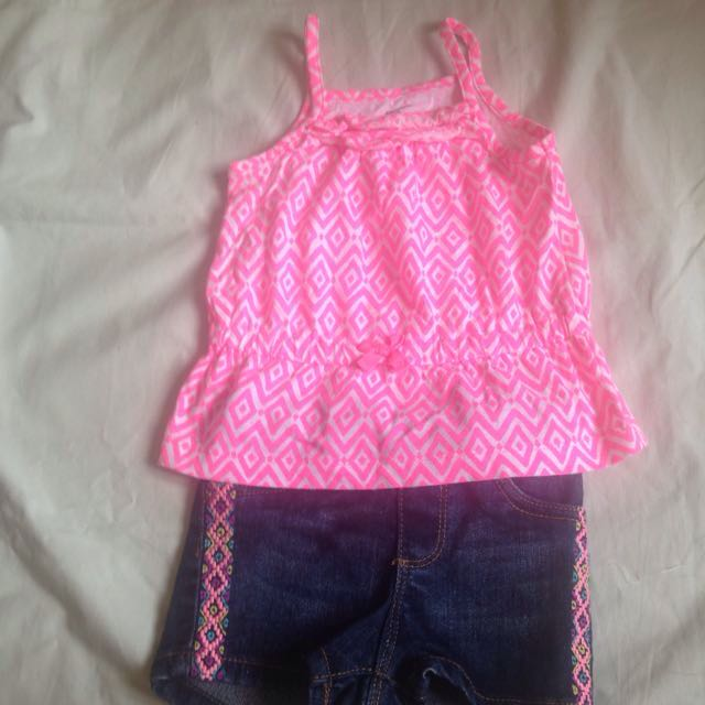 REPRICED : Carters Pink Blouse And Arizona Jean Shorts