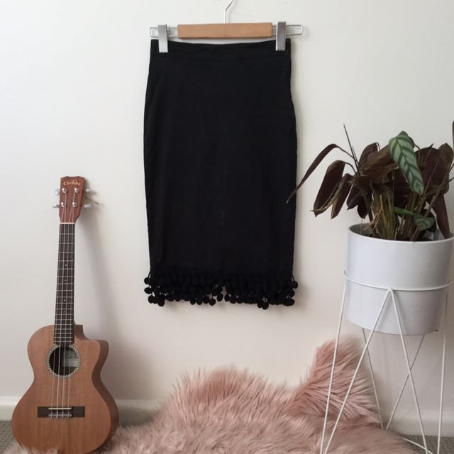 Revival black Wiggle skirt with Pom poms