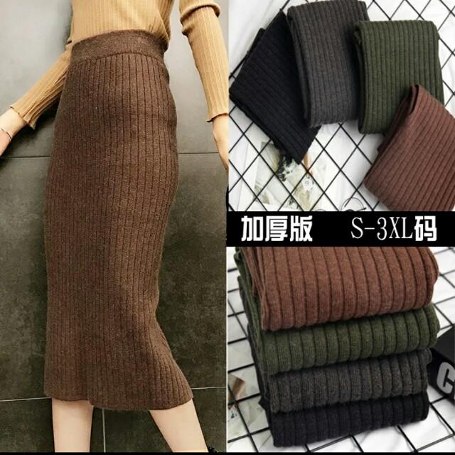 💖💕《S~3XL》加厚顯瘦韓版中長開叉裙