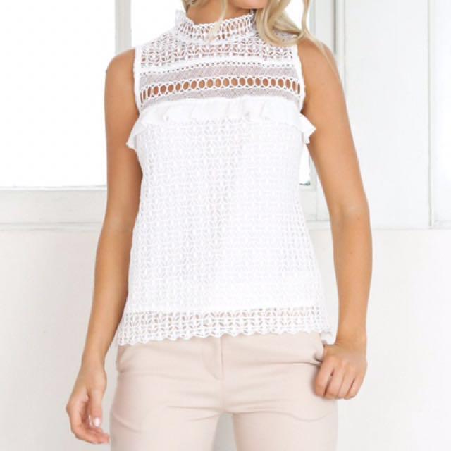 Showpo Singlet White Lace Top Workwear Executive Ponies