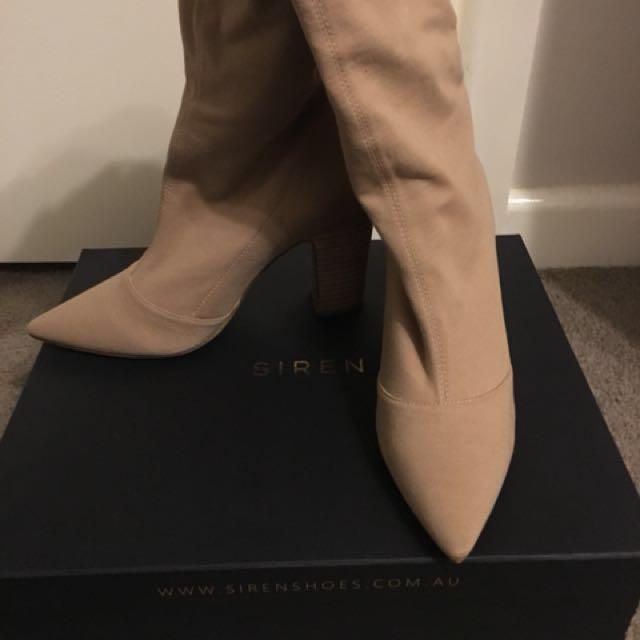 "Siren ""celebrity"" size 8.5 beige stretch knit ankle boots"