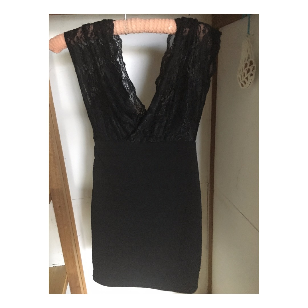Small tight black dress with lace top (lined)