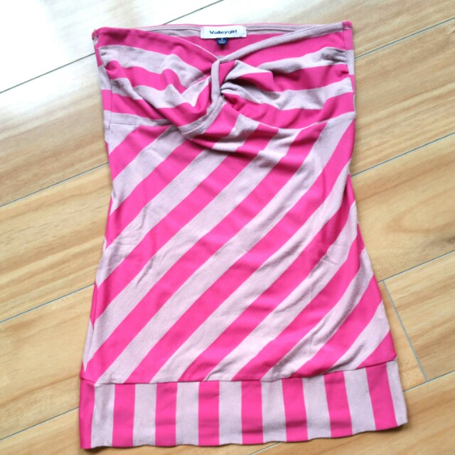Strapless Valley girl top pink with stripes, size small