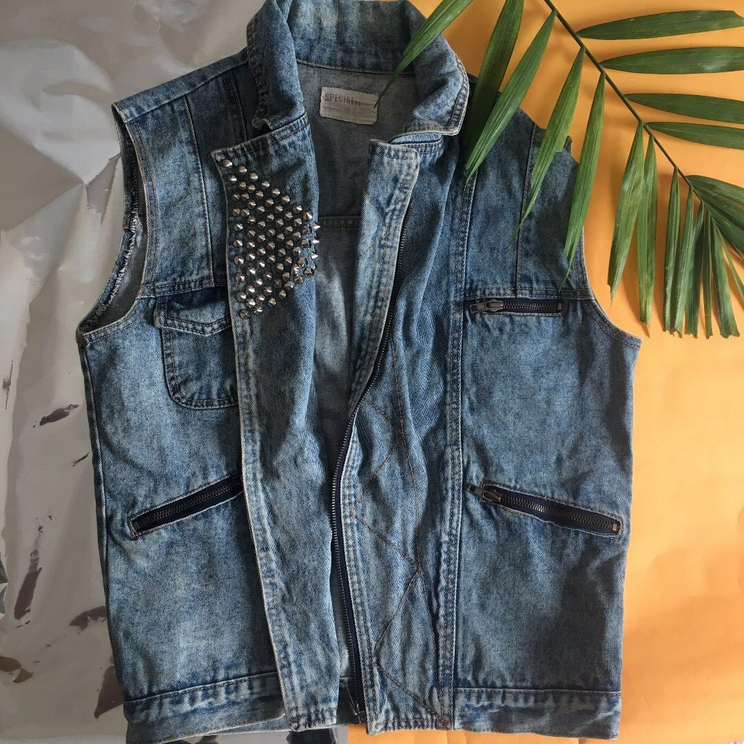 Studded Vintage Denim Vest