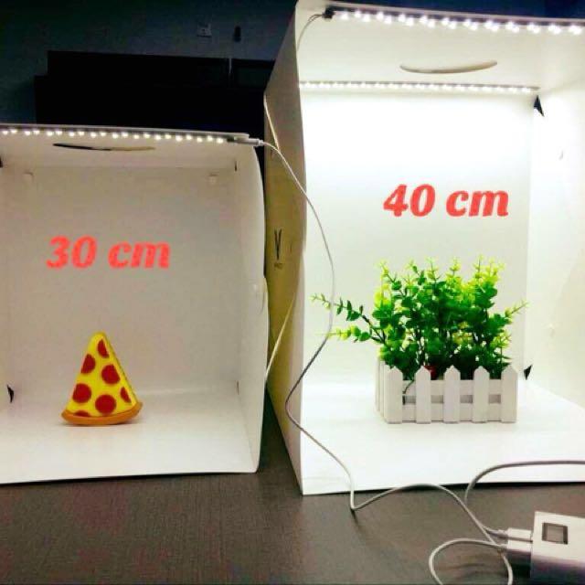 STUDIO PHOTOBOX KIT 40cm or30cm foldable button type dual led light