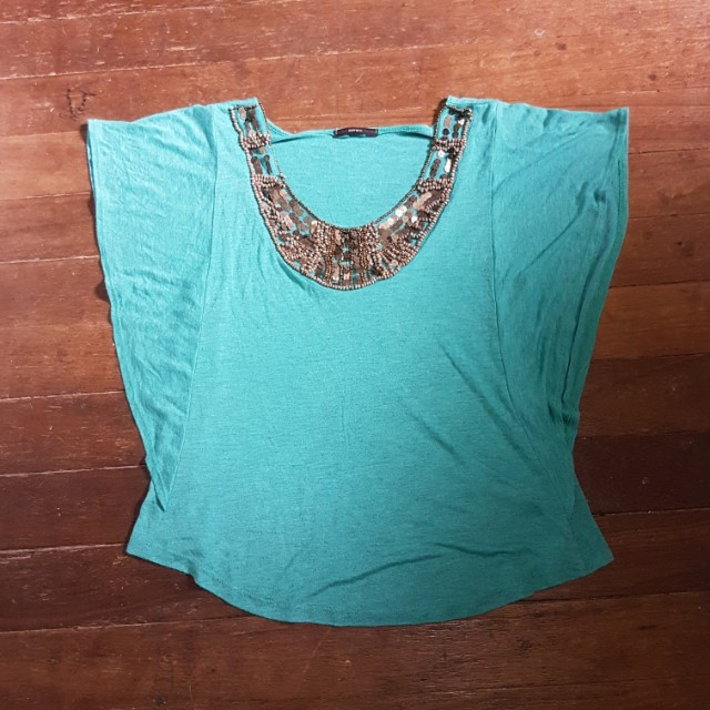 Teal / Sea Green Sequined Top