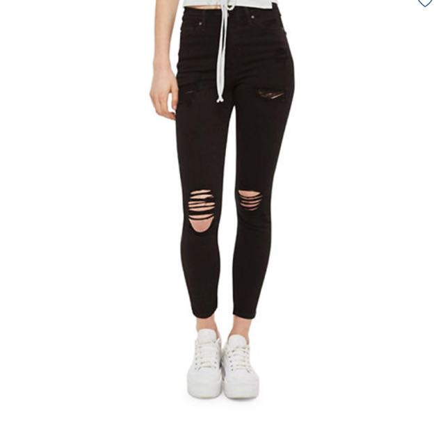 TOPSHOP Black Ripped Jeans
