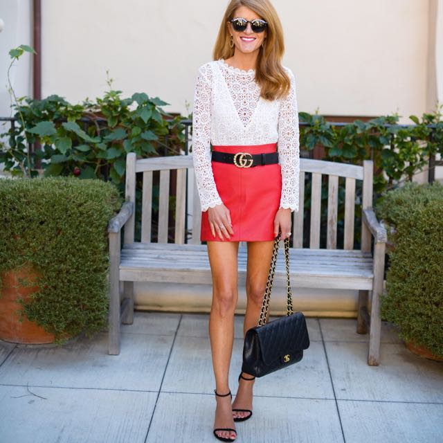 Topshop red leather skirt 10