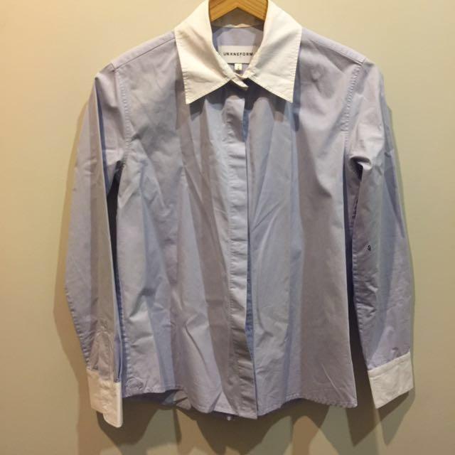 Uniform Label Blue And White Business Shirt