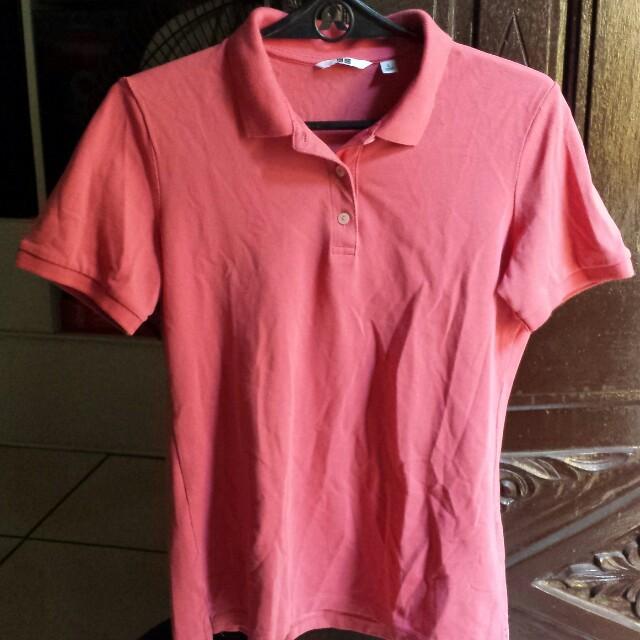 Uniqlo pink polo shirt