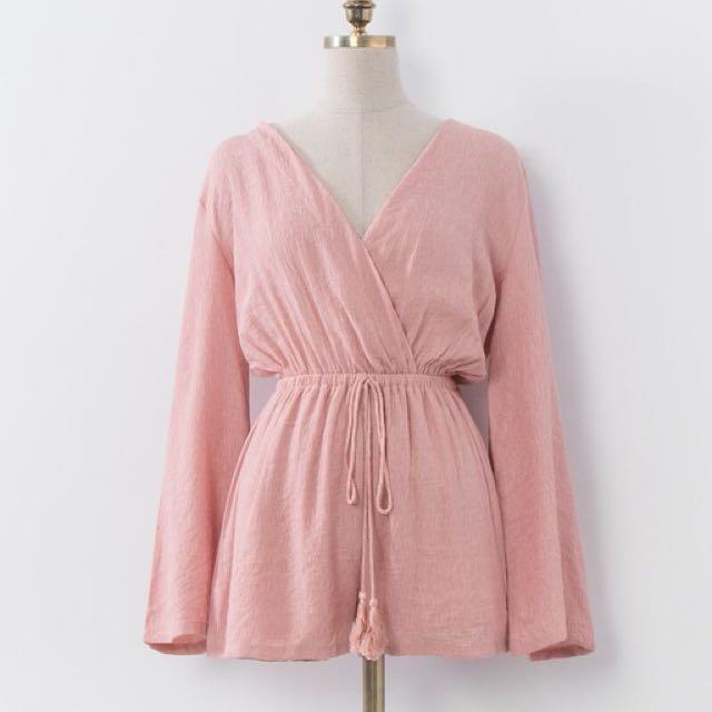 粉色v胸連身短褲