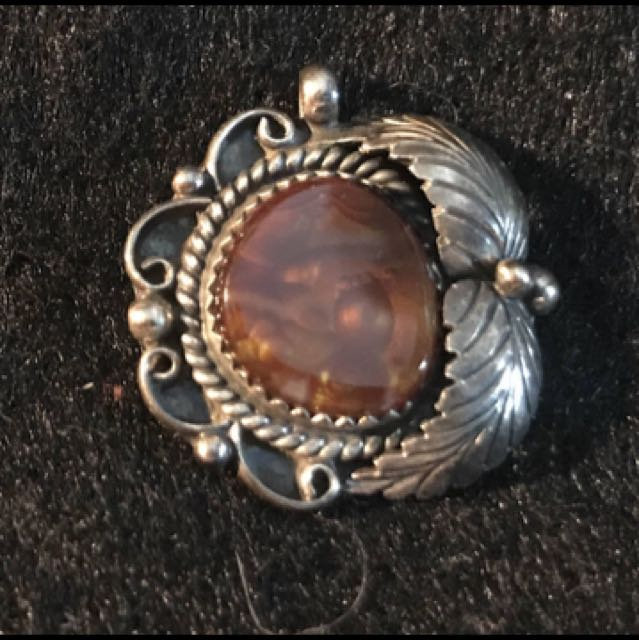 Vintage Navajo Sterling Silver and Fire Agate Squashed Blossom Pendant Marked