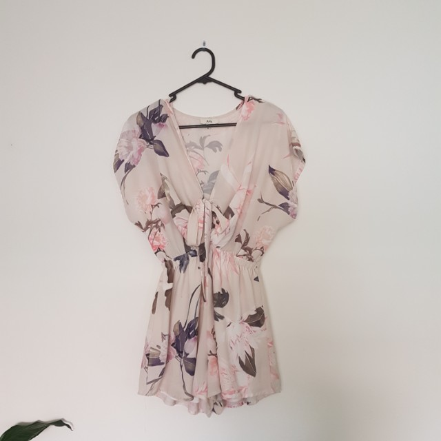 White floral tie playsuit