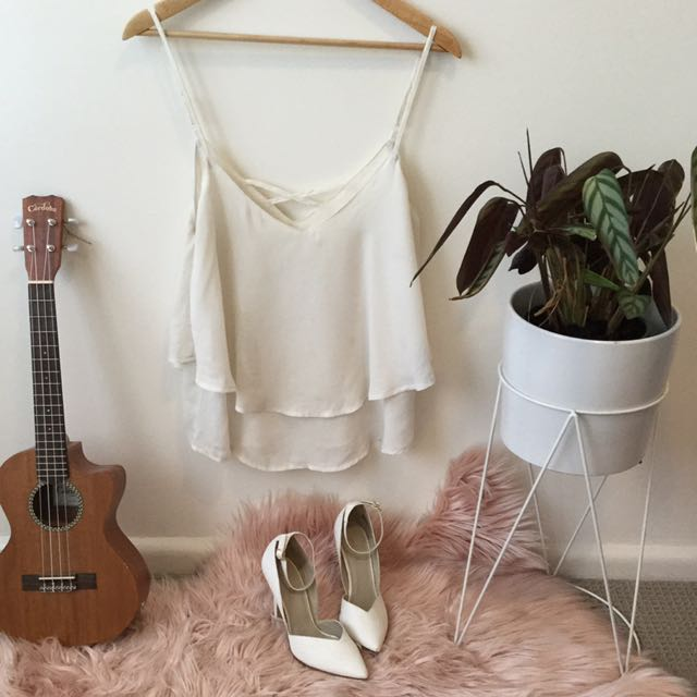 White flowy top