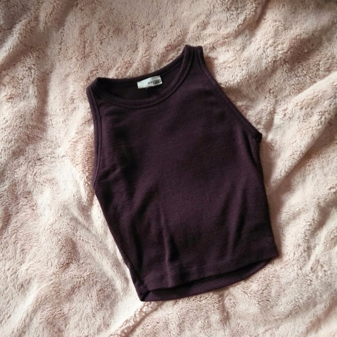 Wilfred Free Burgundy Maroon Weinberg Crop Tank Top