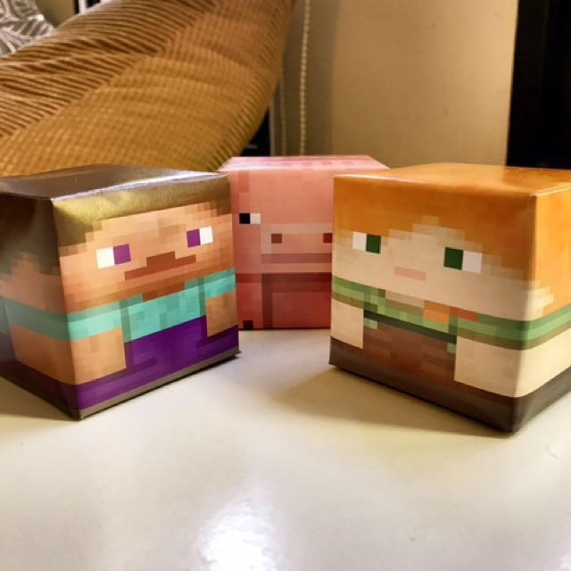Xmas tree decor Minecraft DIY paper craft - Steve, Alex, Pig - Christmas tree decoration!