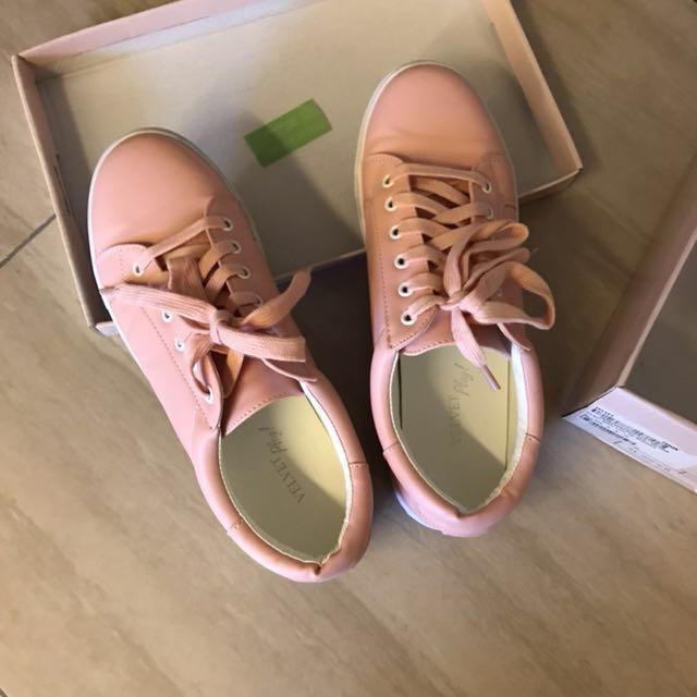 Zalora velvet pastel pink sneakers