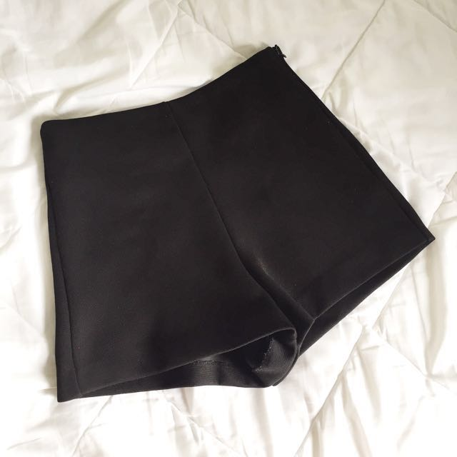 ZARA Black High-Waist Shorts