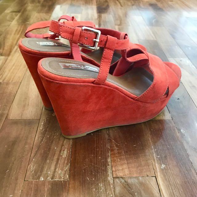 Sandals Orange Suede Sandals Zara Orange Suede Wedge Wedge Zara EDHIW29