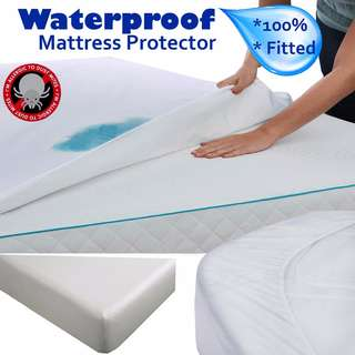 🚚 Fitted Waterproof Hypoallergenic Noiseless Mattress Protector- Dust Mites, Allergens-Single Size