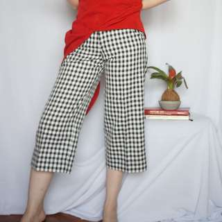 Black white check cropped trousers - handmade