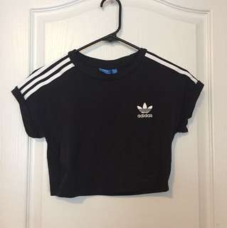 Adidas! 3-Stripe Crop Top. Size S.