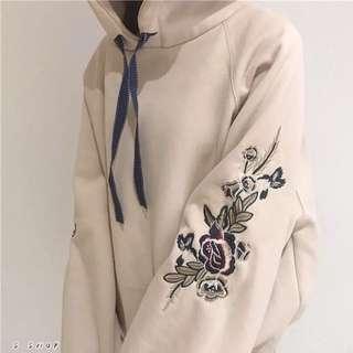 🔹 韓版刺繡花朵寬鬆加絨加厚帽T