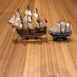 Two antique collectable boats