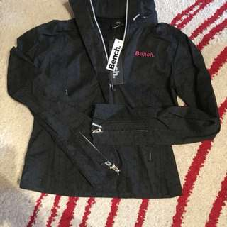 Bench Lightweight Jacket Fold-away Medium Hood Black with pink detailing