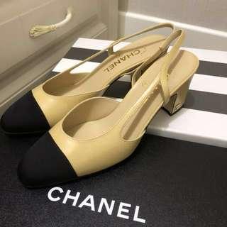 💖Chanel Sling back heels ( size37 ) Beige color