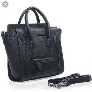 Replica of Celine Micro Luggage in Black Pebbled Leather
