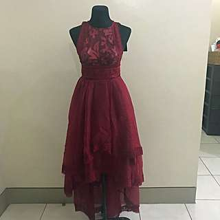 Hispanic Ox Blood Red Gown
