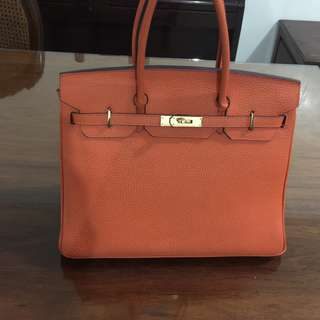 40cm Orange Hermes Birkin Togo Gold hardware complete set