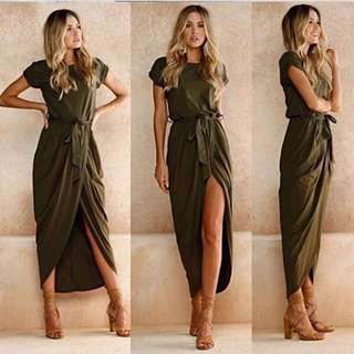 Dress with open front green