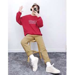 正韓製質感帥氣男友風格刷毛長褲 ( bullang 官網代購 ) 男友褲 鋪棉 抓絨 素色 寬褲 寬鬆 直筒褲