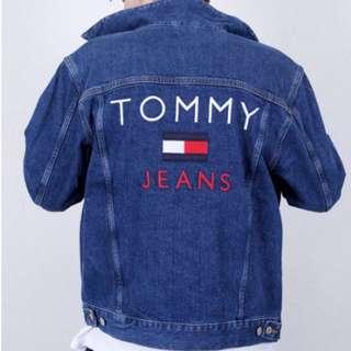 美國官網購入 Tommy Jeans 深藍色牛仔外套  刺繡