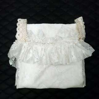 White Lace Open Shoulder Dress