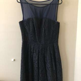 Forever New Size 8 Navy Mesh & Lace Mini Dress