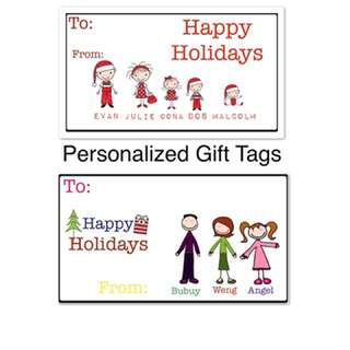 Personalized Gift Tags ( Stick Colored Figure )