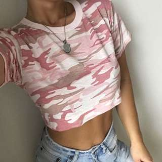 FRANKIE COLLECTIVE PINK CAMO. VINTAGE TEE - SIZE S